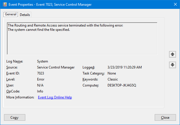 routing and remote access error event viewer