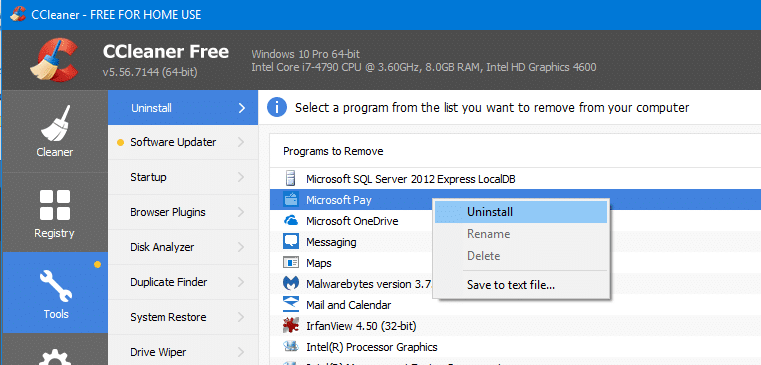 ccleaner uninstall store apps
