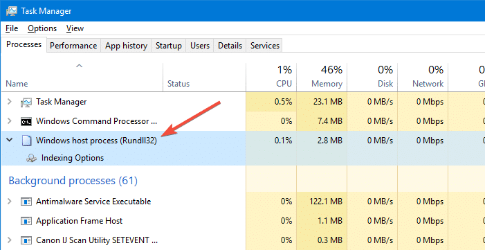 rundll32 entry in task manager