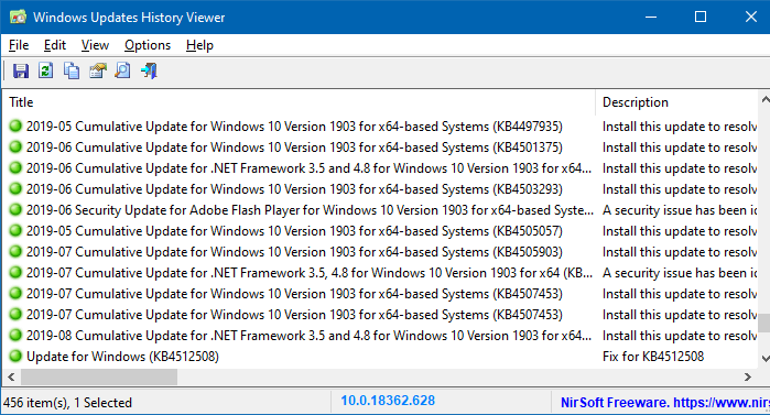 WinUpdatesView - Windows Updates History Viewer
