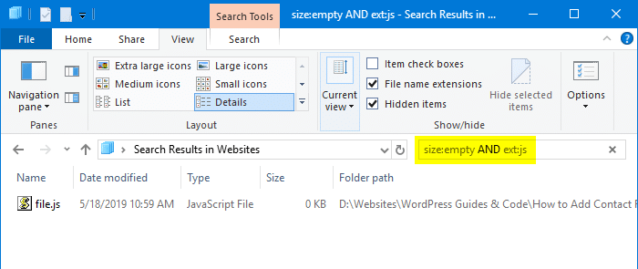 find and delete 0-byte files in windows