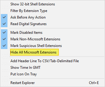 troubleshoot right click Issues Caused by Shell Extensions - shellexview
