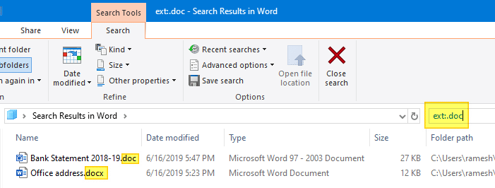 search for files specific extension windows