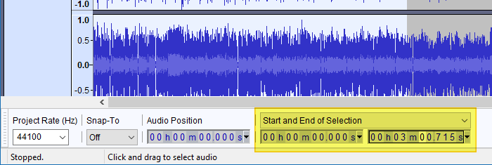 export selected audio from mp4 video using audacity
