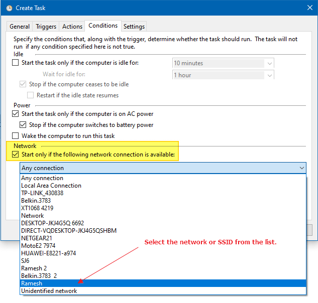 trigger launch program when connecting to a specific network connection