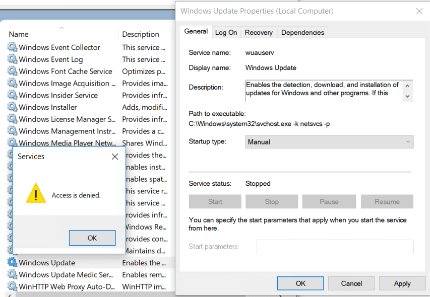 windows update service options grayed out - wuauserv
