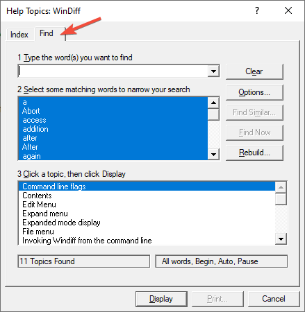 winhlp32 full text search wizard