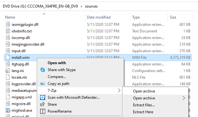 extract files from install.wim esd using 7-zip