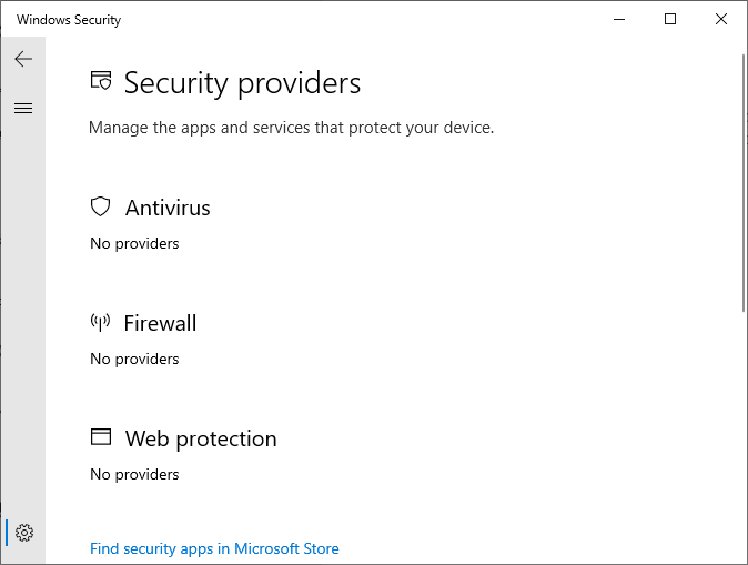 windows defender service missing - security at a glance is empty