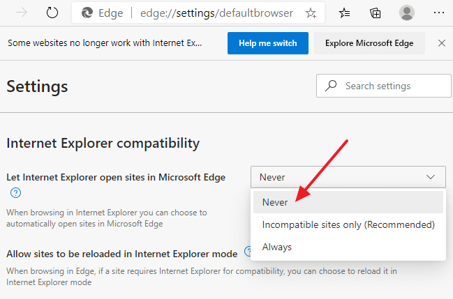 ie to edge redirect disable - edge settings