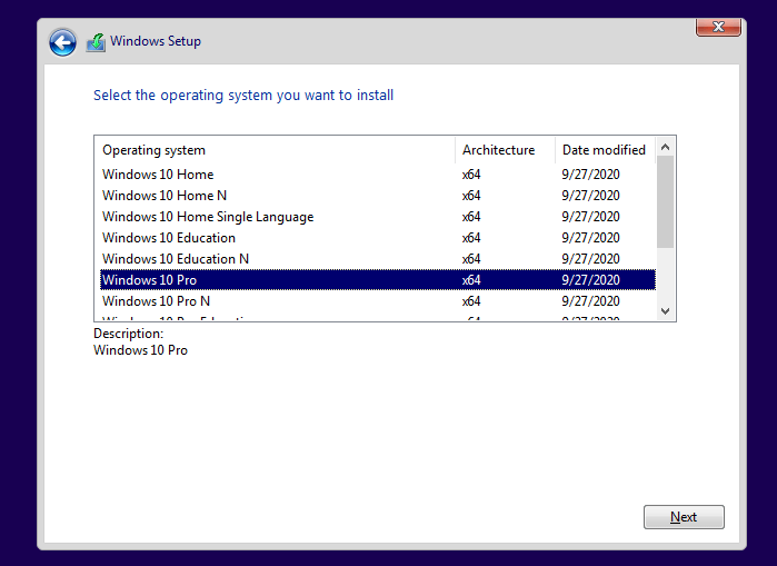 windows 10 setup not showing the list of editions