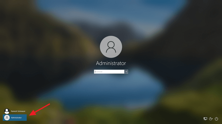 built-in administrator sign-in screen activated