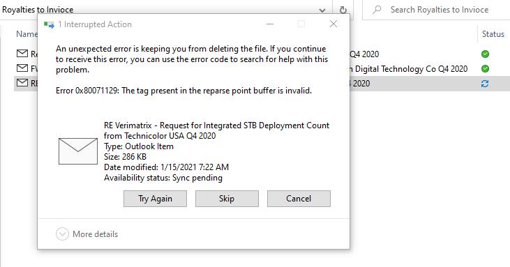 onedrive 0x80071128 0x80071129 reparse point error
