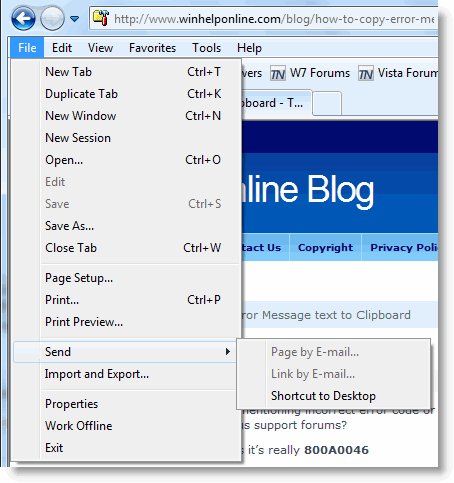Fix Send Page by E-Mail Option Grayed Out in Internet